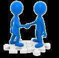 Cartoon blue people shaking hands image