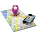 Map with phone laying on it image