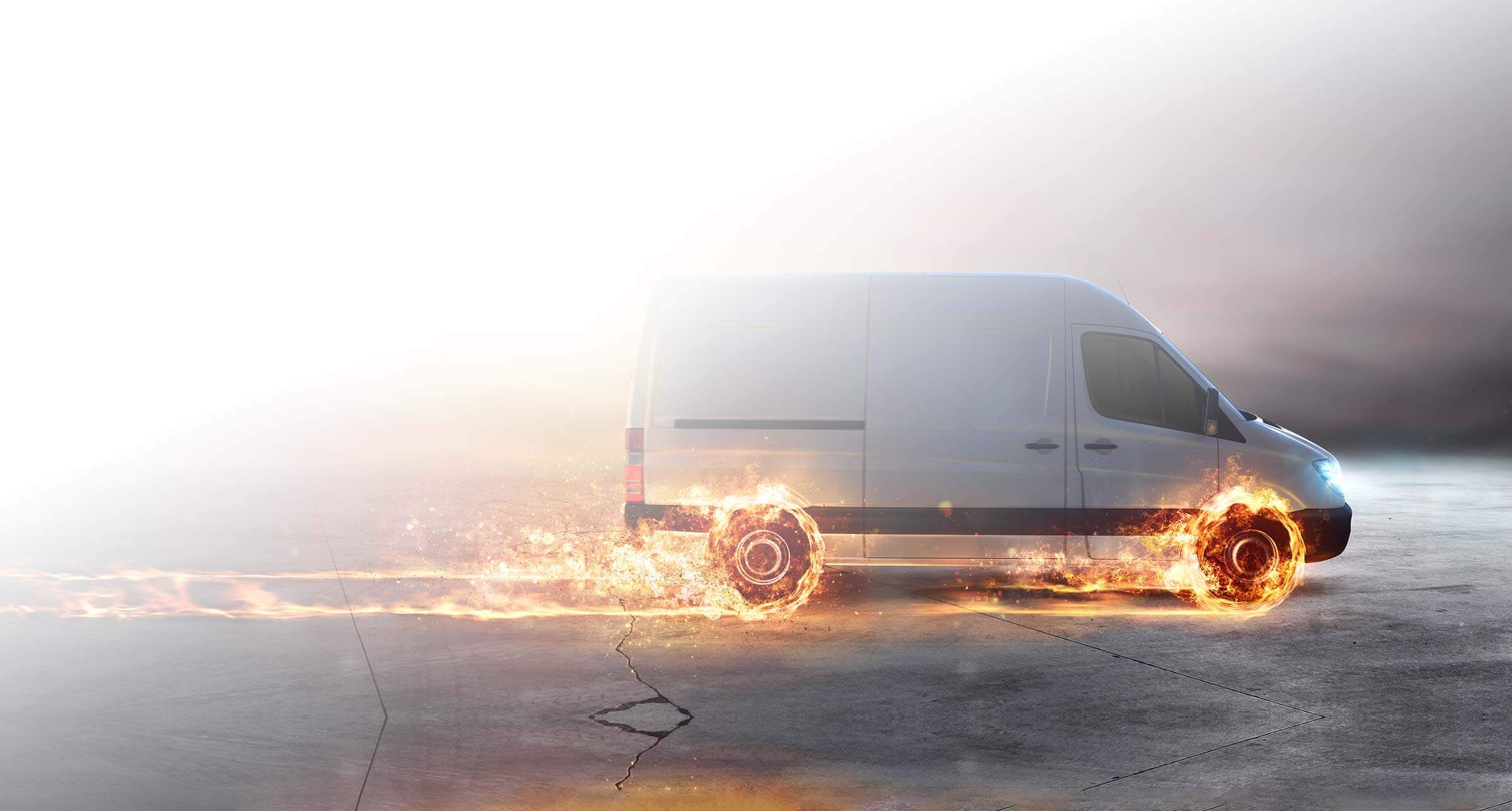 Delivery van with tires on fire image